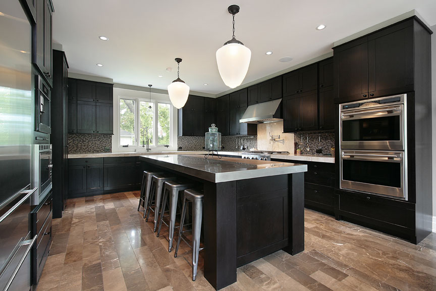 dark cabinets with dark countertops, contemporary design