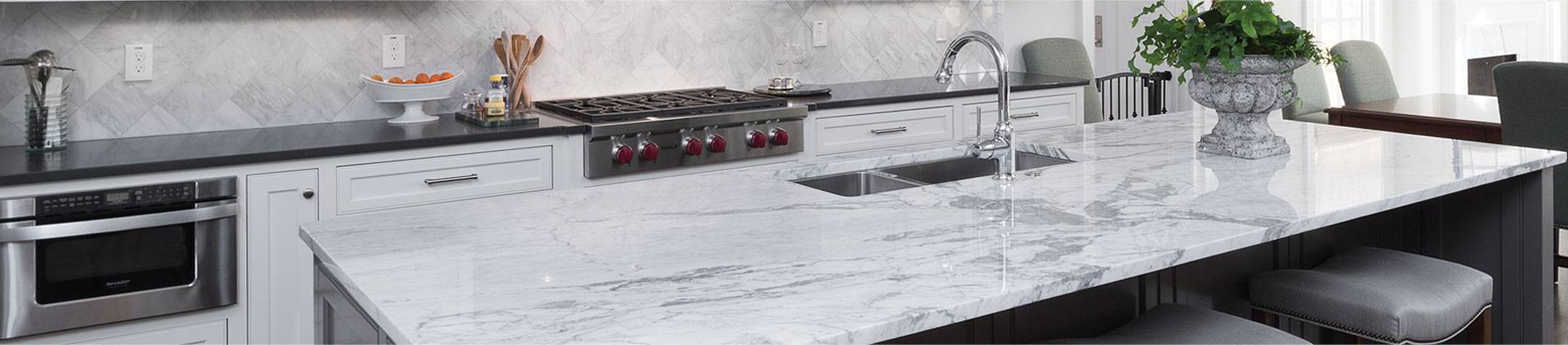 contemporary urban design, white countertops with veins